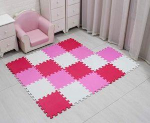 Alfombra puzzle rosa goma eva