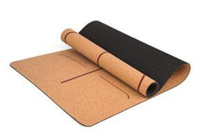 esterilla para yoga con corcho natural y alineación corporal