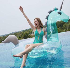 Colchoneta flotador hinchable unicornio transparente
